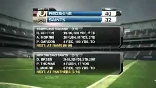 Washington Redskins @ New Orleans Saints Week 1 2012