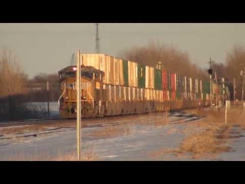 Union Pacific stack train passes ethanol plant, Nevada, Iowa