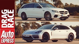 Mercedes-AMG E 63 S Estate vs Porsche Panamera Sport Turismo Turbo drag race. Auto Express.