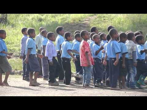School Kids singing in Papua New Guinea
