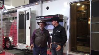 NFR 2016 Cowboy Christmas trade show, interviewing Cimarron Horse Trailer at NRS