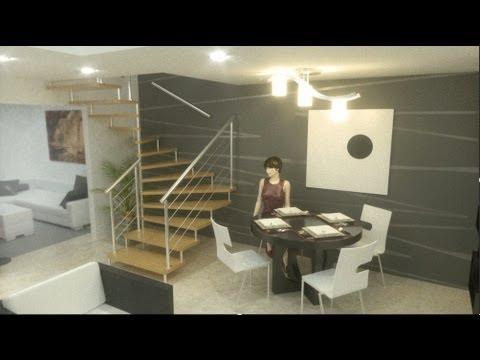 Casa Moderna económica, interiores Alamos 5 00m x 11 00m, 2 pisos