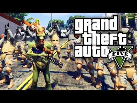 GTA 5 PC FUN WITH MODS - ALIEN ARMY INVASION! (GTA V PC Mods)