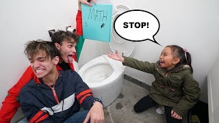 SCHOOL HOMEWORK IN THE TOILET PRANK!