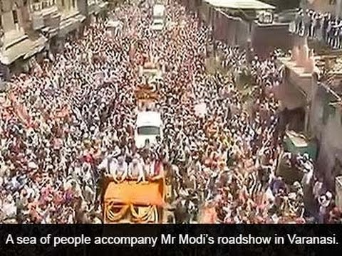 Modi in Varanasi: biggest road-show in world's largest election
