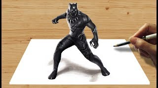 3D Pencil Drawing: Marvel's Black Panther - Speed Draw | Jasmina Susak