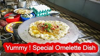 Yummy ! Butter Omelette Dish with Cheese - Yadav Omelette Center-Surat ,Gujarat   Indian Street Food