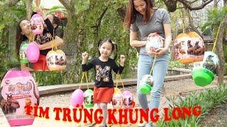 SĂN VÀ BÓC TRỨNG KHỦNG LONG - Hunting dinosaur surprise eggs ♥ Dâu Tây Channel
