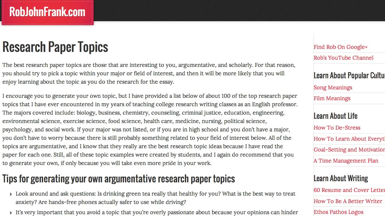 Research essay topics research essay