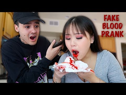 Throwing Up FAKE BLOOD PRANK On BOYFRIEND! *cute reaction*