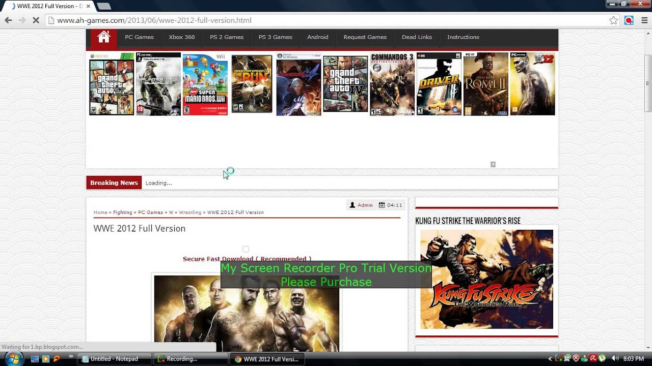 download and install wwe smackdown vs raw full version 2012 - YouTube