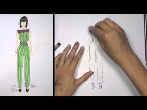 How to Draw Clothes for Beginners Fashion Designing: Green and Brown Jumpsuit   KT