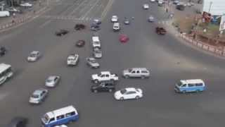 Amazing time lapse Meskel square, Addis ababa - Cars move without traffic lights