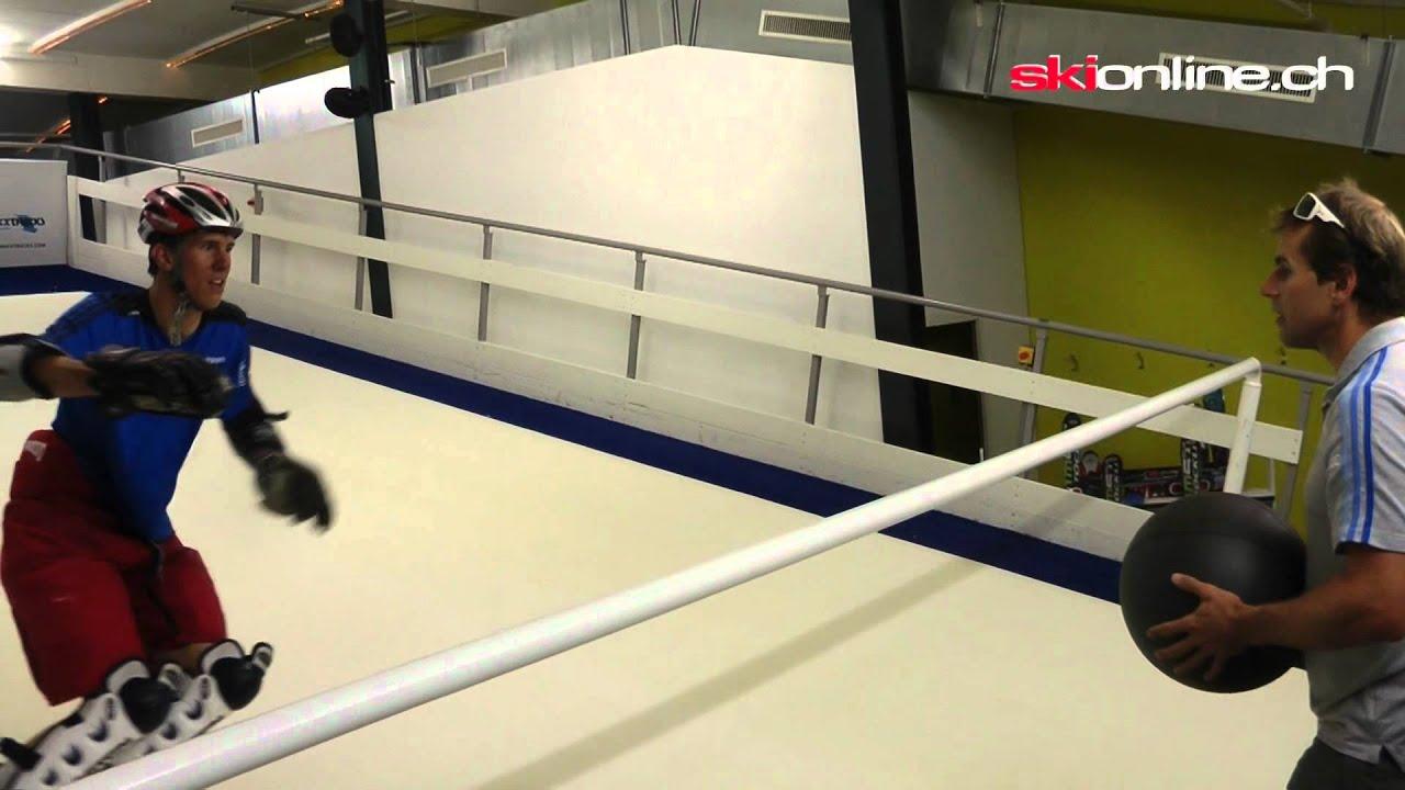 Swiss Indoor Skiing  Didier Plaschys Slalomtraining auf
