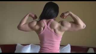 Beautiful South Korean Muscle Woman Flexing Her Powerful