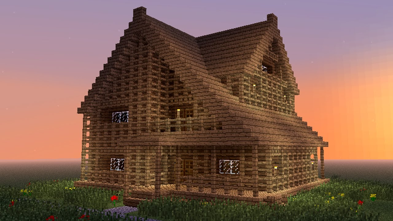 Minecraft How To Build Big Wooden House Youtube