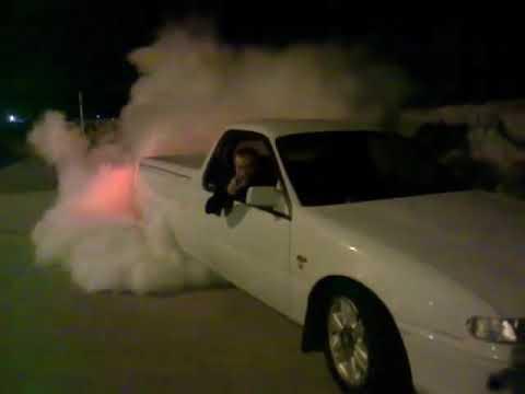 Vs V6 commodore ute burnout, hits the limiter