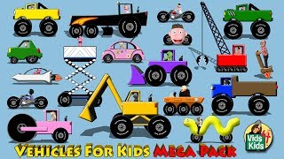 Vehicles For Kids Mega Pack - Cars Trucks Motorcycles Fire Truck for Children