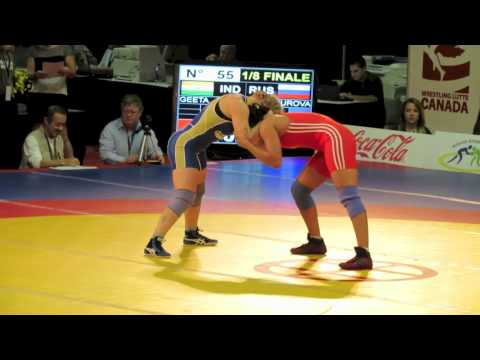 2012 Women's World Championships: 55 kg Maria Gurova (RUS) vs. Geeta Geeta (IND)