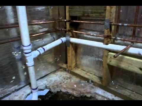 new basement bathroom plumbing - youtube