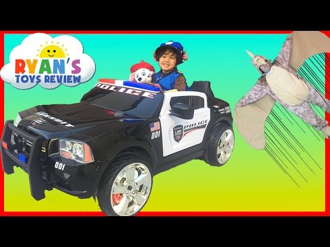 Police Car Power Wheels Ride-On for kids Paw Patrol Chase save Marshall Huge Egg Surprise Toys