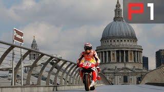 Marc Marquez Rides Over Millenium Bridge In London