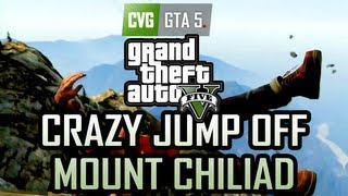 GTA 5 Gameplay Jumping Off Mount Chiliad Onto A Moving
