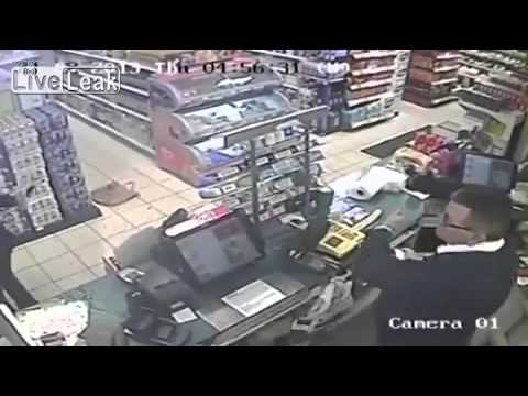 A deranged knife weilding female miscreant attempts to rob a petrol station at knife point, aids th