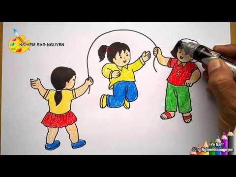 Vẽ tranh Bé nhảy dây/How to Draw baby jump rope