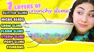 7 LAYERS OF CRUNCHY SLIMES | Making all crunchy slimes | crunchiest slimes | Slimeatory #193