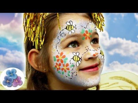 Como pintar la cara abeja bee face painting ideas - Pintura cara halloween ...