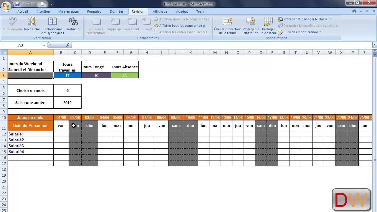 Feuille de Pointage Dynamique Sous Excel 2007 - YouTube