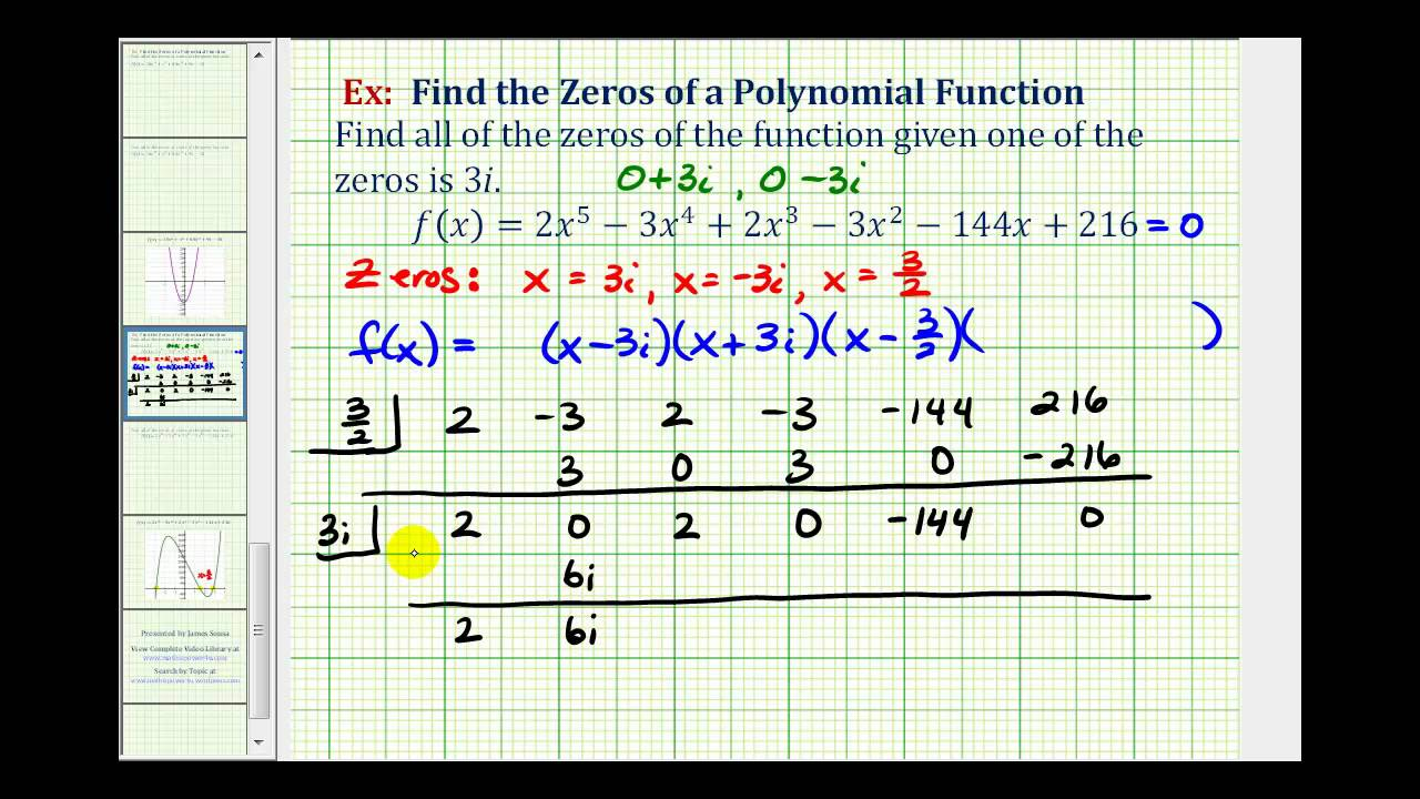 ex 7  find the zeros of a degree 5 polynomial function