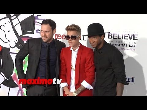 Justin Bieber, Usher, Scooter Braun at Justin Bieber's