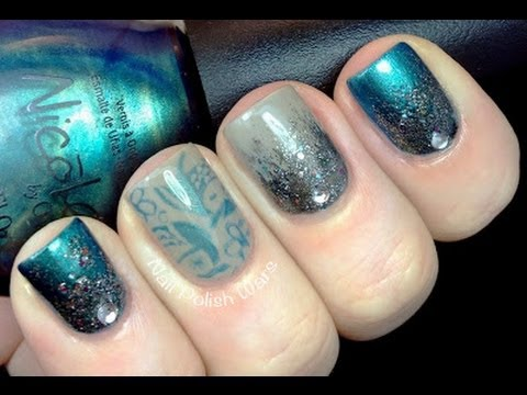 Lovely Mystical Nails!   Glitter Gradient U0026 Konad Stamping Nail Art Tutorial Nail  Polish Rhinestone Designs