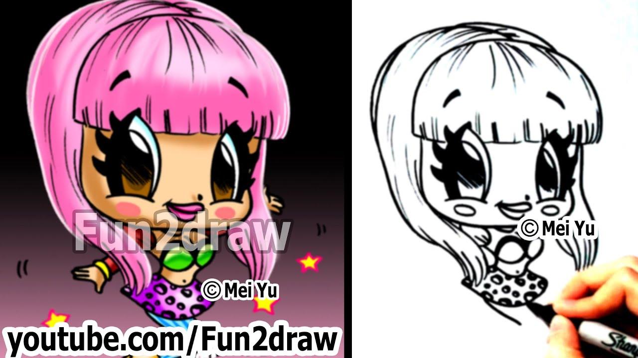 Nicki minaj chibi drawing tutorial cute easy cartoon for Fun to draw people