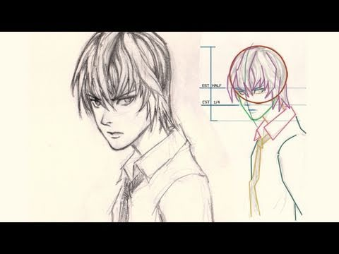 How to draw face Light Yagami from Death Note, http://idrawgirls.com/tutorials/2011/10/24/how-to-draw-manga-light-yagami/ for step by step images and more info. How to draw Face Anime Manga, Light Yagami ...