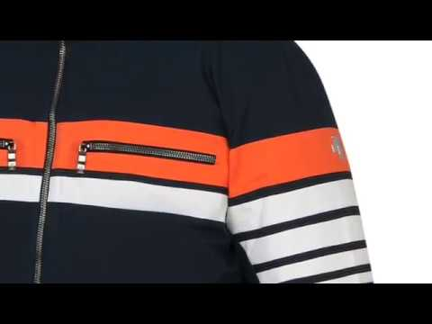 Descente Editor Mens Ski Jacket in Navy Orange and White