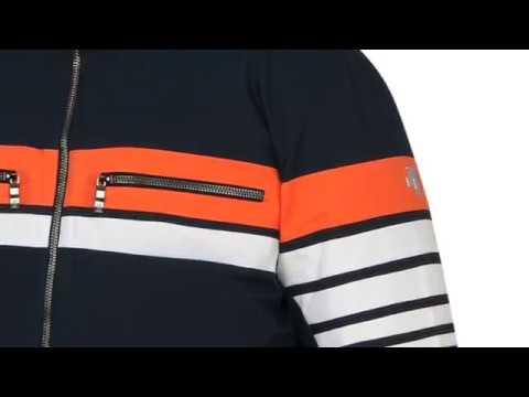 Descente Editor Mens Ski Jacket in Navy Orange and White