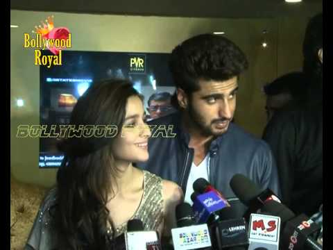 Arjun Kapoor, Alia Bhatt, Karan Johar interact with fans post release of '2 States' at theatre