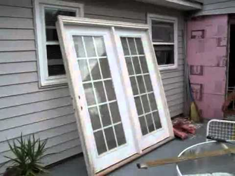 installing french doors before and after not a how to youtube. Black Bedroom Furniture Sets. Home Design Ideas