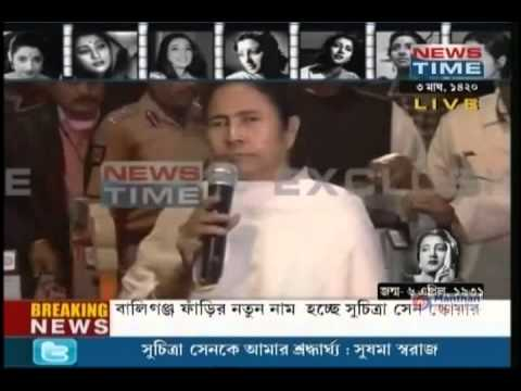 WB CM addresses the press after Suchitra Sen's cremation at Keoratala crematorium