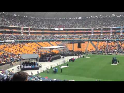 South African national anthem being sung at Nelson Mandela's memorial service at FNB Stadium, Soweto