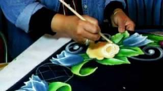 Pintura Sobre Tela-Rosa.wmv