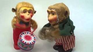 Vintage Wind Up MONKEY Toy Band Drummer & Cymbals Japan At