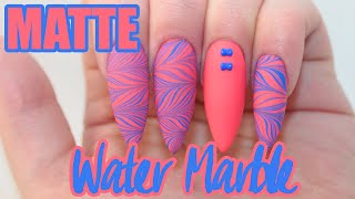 Matte Water Marble Acrylic Nails | Water Marble Sticker