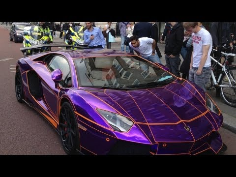 Original  Epic Arab Lamborghini Aventador Gets Pulled by Police and S