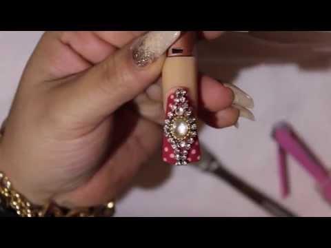 UÑAS ACRILICAS Estilo Sinaloa -Vintage Red Pink- 2 de 3