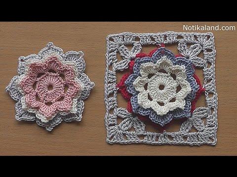 CROCHET How to crochet  Flower Granny Square Tutorial for baby blanket