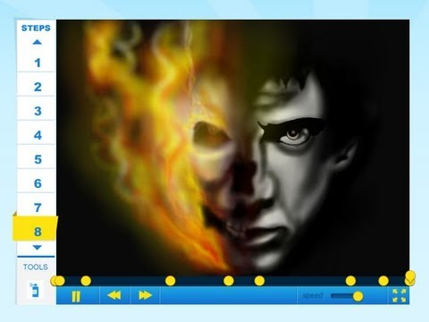 How to draw Nicolas Cage from Ghost Rider